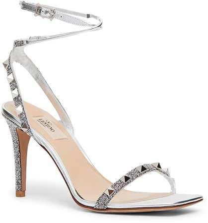 Rockstud Metallic Ankle Strap Sandal