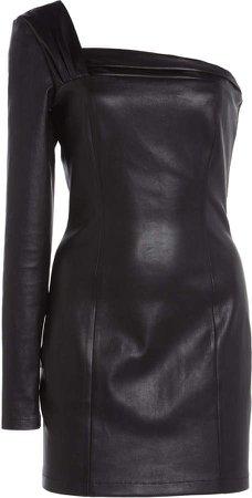 Zeynep Arcay Asymmetric Stretch Leather Dress
