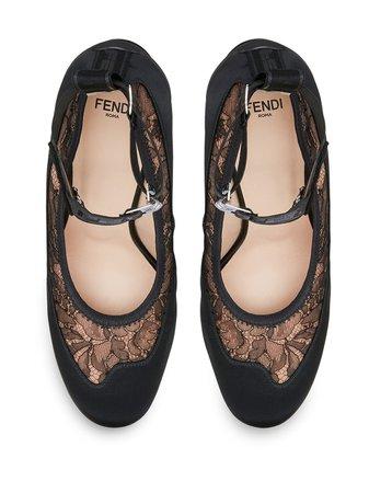 Shop black Fendi lace-detail pumps with Express Delivery - Farfetch