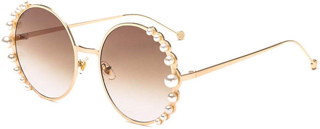 Amazon.com: Naimo Fashion Round Pearl Decor Sunglasses UV Protection Metal Frame: Clothing