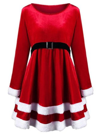 Long Sleeve Round Neck Velvet Christmas Dress with Belt