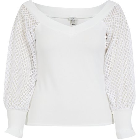 White long sleeve mesh sleeve bardot top | River Island