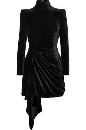 Alex Perry   Parker draped velvet mini dress   NET-A-PORTER.COM