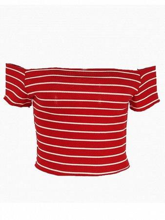 Red Stripe Cotton Off Shoulder Chic Women Crop Top   Choies