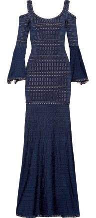 Natasha Cold-shoulder Pointelle-paneled Jacquard-knit Gown