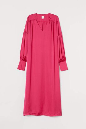 Balloon-sleeved satin dress - Pink