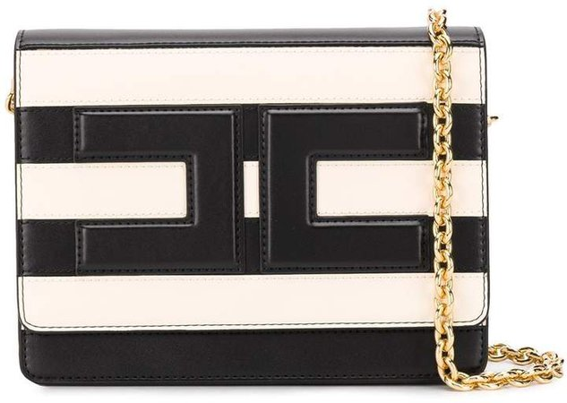 striped logo cross-body bag