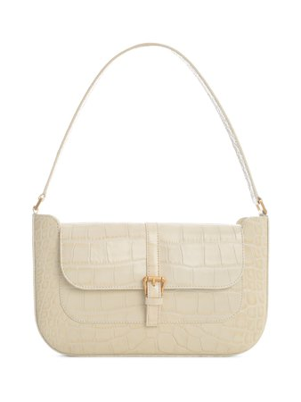 BY FAR Miranda Cream Croco Embossed Leather