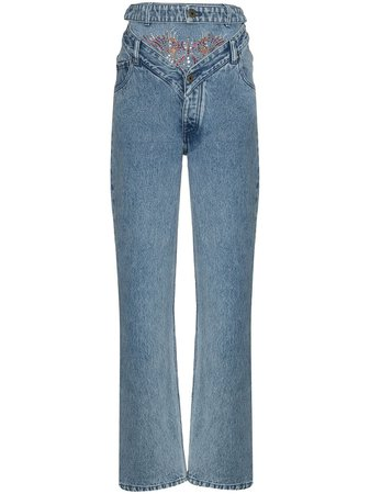 Shop blue Y/Project rhinestone-embellished straight-leg jeans with Express Delivery - Farfetch