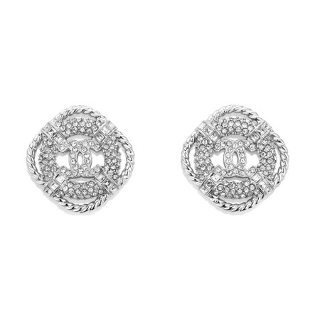 Metal & Strass Silver & Crystal Earrings | CHANEL