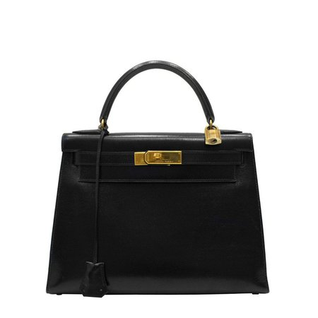 1989 Black Box Leather Rigid 28 cm Hermes Kelly Bag For Sale at 1stdibs