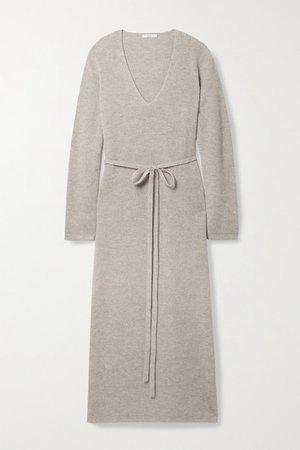 Belted Ribbed Melange Wool And Cashmere-blend Midi Dress - Beige