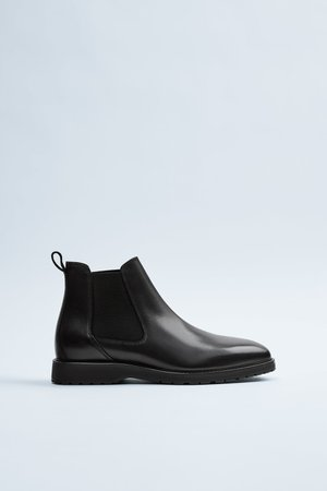 BLACK SPORTY LEATHER ANKLE BOOTS | ZARA India