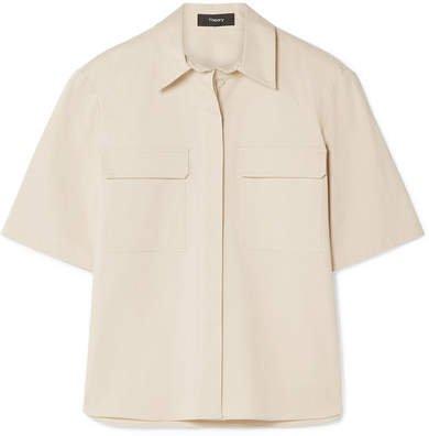 Stretch-cotton Poplin Shirt - Cream