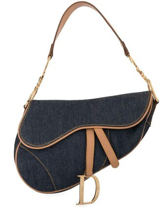 Pre Owned denim Saddle shoulder bag