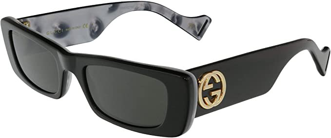 Gucci GG0516S Shiny Bilayer Black/White Mother-Of-Pearl/Grey Solid One Size at Amazon Women's Clothing store
