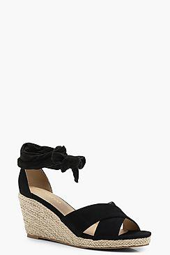 Tia Wide Fit Cross Strap Wrap Espadrille Wedges