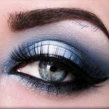 Silver and Navy Blue Eye Makeup