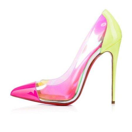 pink neon yellow louboutin shoes