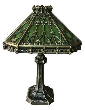 Gothic Greenhouse Lamp | Victorian Green Glass Lamp