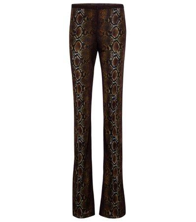 Versace, Python-print jersey flared pants
