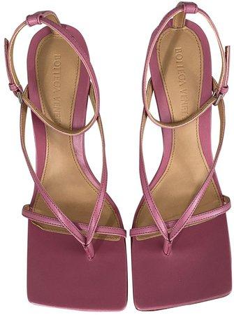 Bloc Pink Leather Sandals