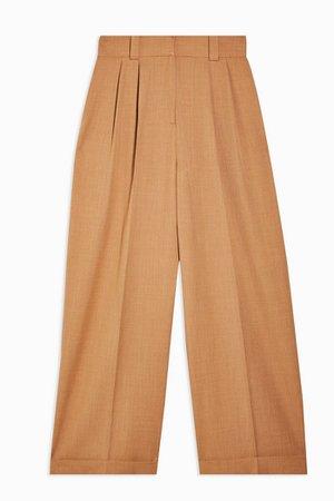 Camel Elastic Back Wide Leg Trousers | Topshop