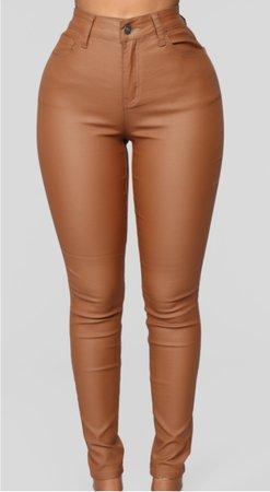fashion nova leather pants brown