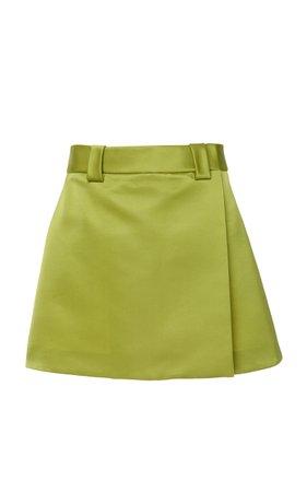 Prada Satin Wrap-Effect Mini Skirt Size: 44