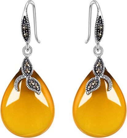 EVER FAITH 925 Sterling Silver Natural Yellow Chalcedony Crystal Retro Black Leaf Teardrop Hook Earrings
