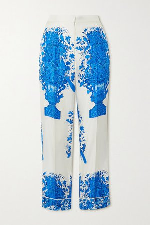 Printed Silk-twill Wide-leg Pants - White