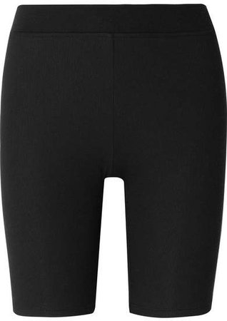 Ribbed Stretch-micro Modal Shorts - Black