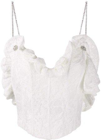 embellished strap lace camisole