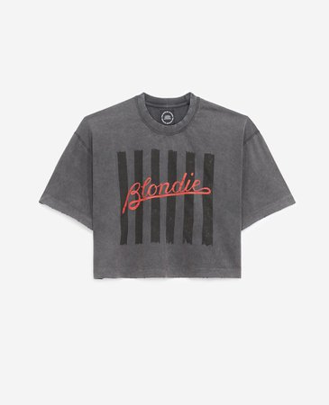 Faded black cotton T-shirt with Blondie logo | The Kooples