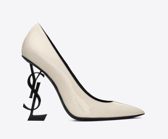 Patent Leather Cream White/Black YSL Pump (Women)