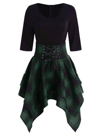 [28% OFF] Lace Up Tartan Asymmetrical Dress | Rosegal