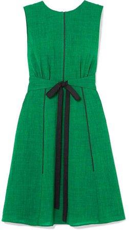 Cefinn - Grosgrain-trimmed Belted Voile Dress - Green