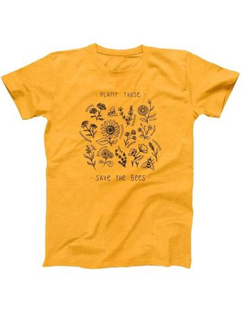 Online Shop PUDO-XSX Plant These Save The Bees T-Shirt Women Grunge Aesthetic Yellow Tee 90s Cute Vintage Fashion Top | Aliexpress Mobile