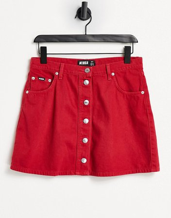 Minga London a line mini denim skirt in red with contrast buttons | ASOS