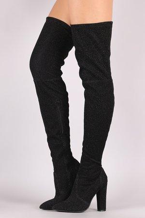 Glitter Black Knee High Boots 1
