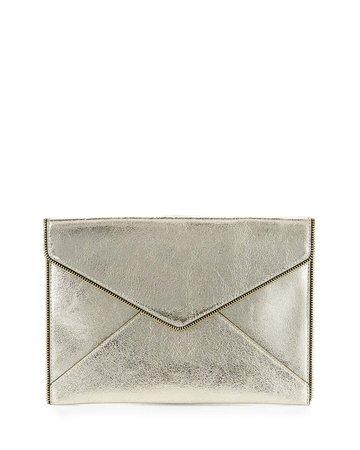 Rebecca Minkoff Leo Metallic Leather Clutch Bag, Champagne | Neiman Marcus