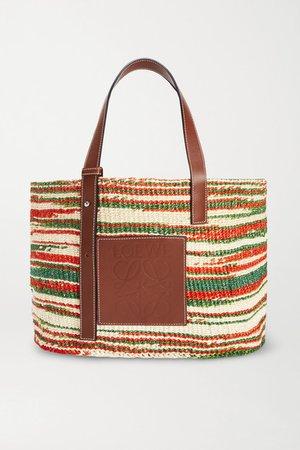 Paula's Ibiza Medium Leather-trimmed Striped Woven Raffia Tote - Brown