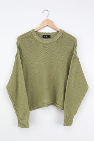 Light Green Sweater - Chunky Knit Sweater - Oversized Sweater - Lulus