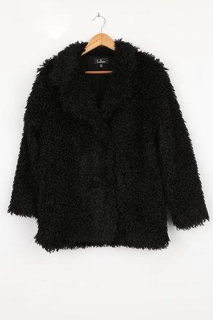 Black Coat - Faux Fur Jacket - Teddy Coat - Lulus