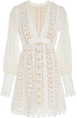 Silk And Linen-Blend Lace Mini Dress