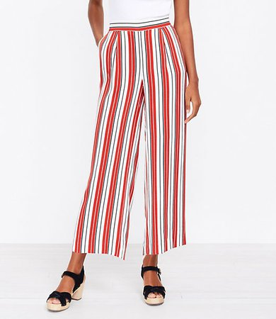 The Pull On Wide Leg Crop Pant in Stripe