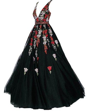 Dress Long red gold black