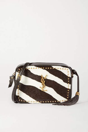 Lou Studded Zebra-print Calf Hair And Leather Shoulder Bag - Brown