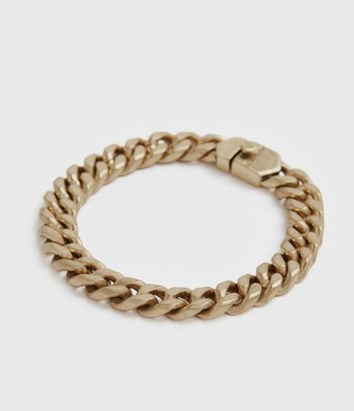 ALLSAINTS US: Womens Curb Gold-Tone Chain Bracelet (warm_brass)