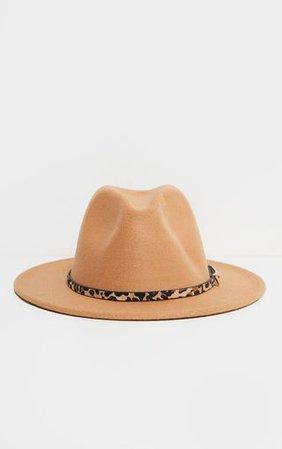 Camel Leopard Trim Fedora Hat | Accessories | PrettyLittleThing